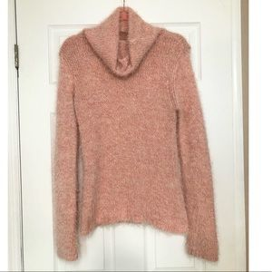 Anthro Sleeping on Snow pink cowl neck sweater S